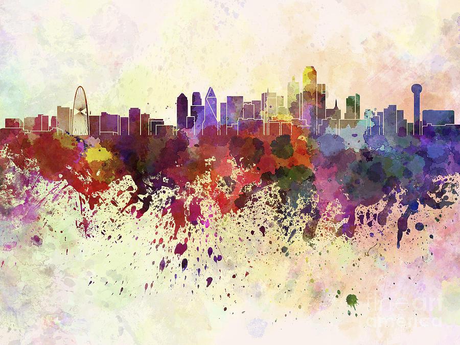 900x675 Dallas Skyline In Watercolor Background Digital Art By Pablo Romero