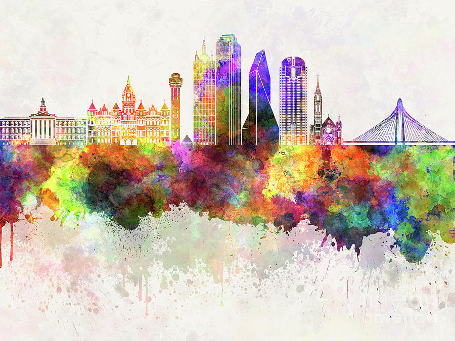 900x675 Dallas Skyline In Watercolor Background Painting By Pablo Romero