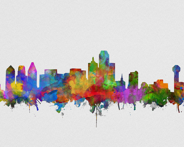 600x480 Dallas Skyline Watercolor 6 Poster By Bekim Art