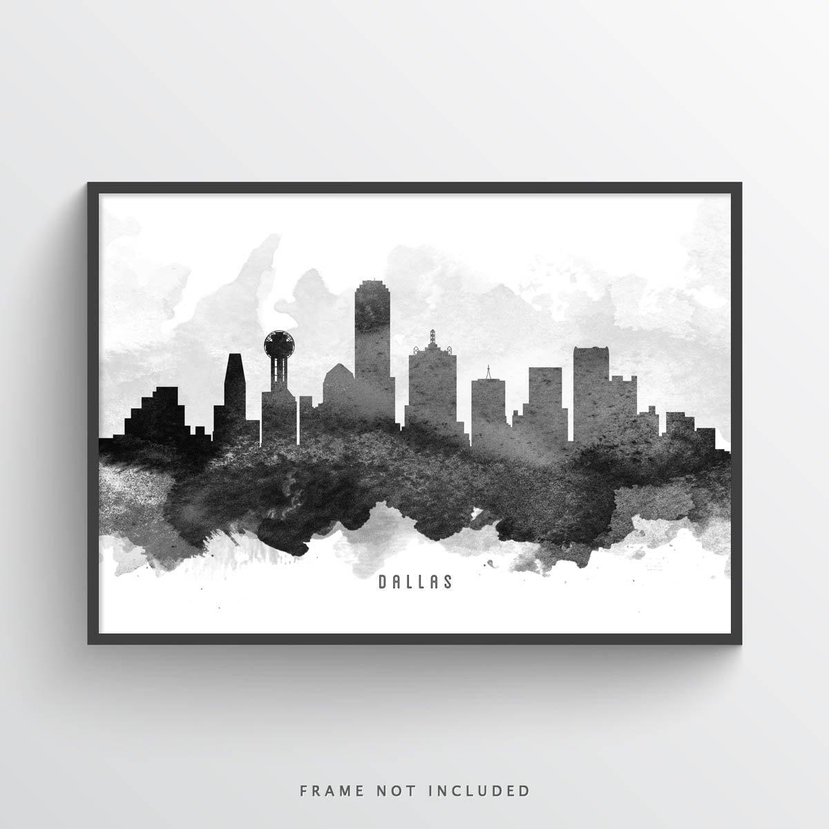 1200x1200 Dallas Skyline Watercolor Art Print