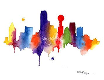 355x274 Imagekind Wall Art Print Entitled Dallas Skyline By