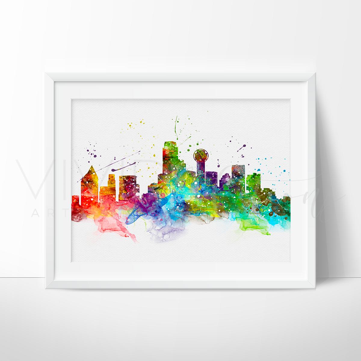1200x1200 Dallas Skyline Watercolor Art Print Wall Decor