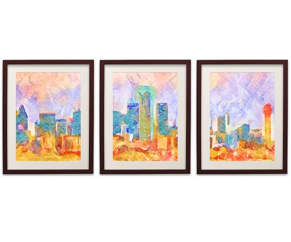 570x475 Dallas Skyline Watercolor Poster Set Of 3 Dallas Cityscape Etsy