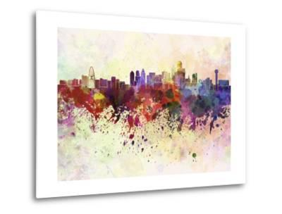 400x304 Dallas Skyline In Watercolor Background Metal Print By Paulrommer