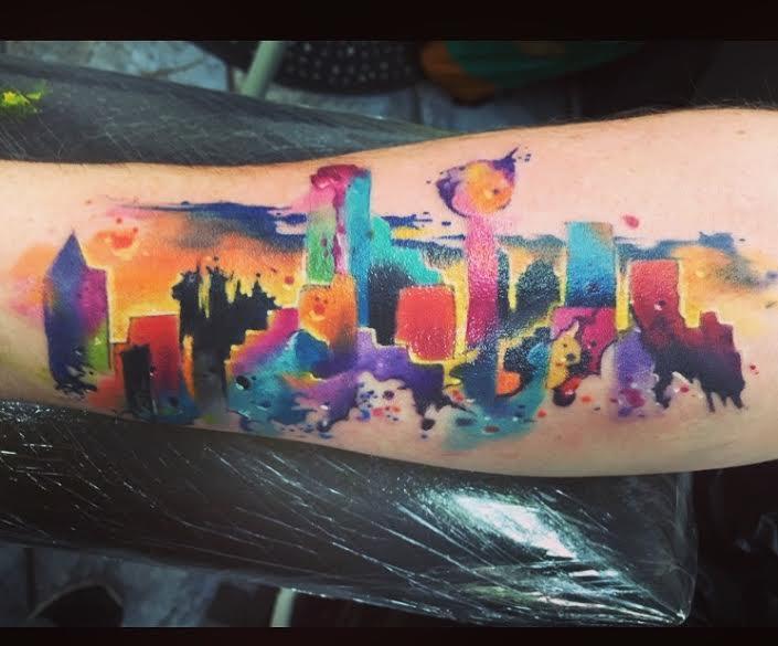 705x585 Dallas Skyline Watercolor Tattoo