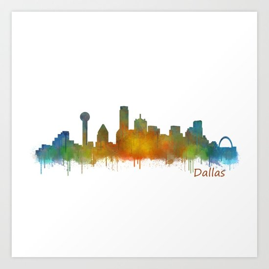 550x550 Dallas Texas City Skyline Watercolor V02 Art Print By Hqphoto