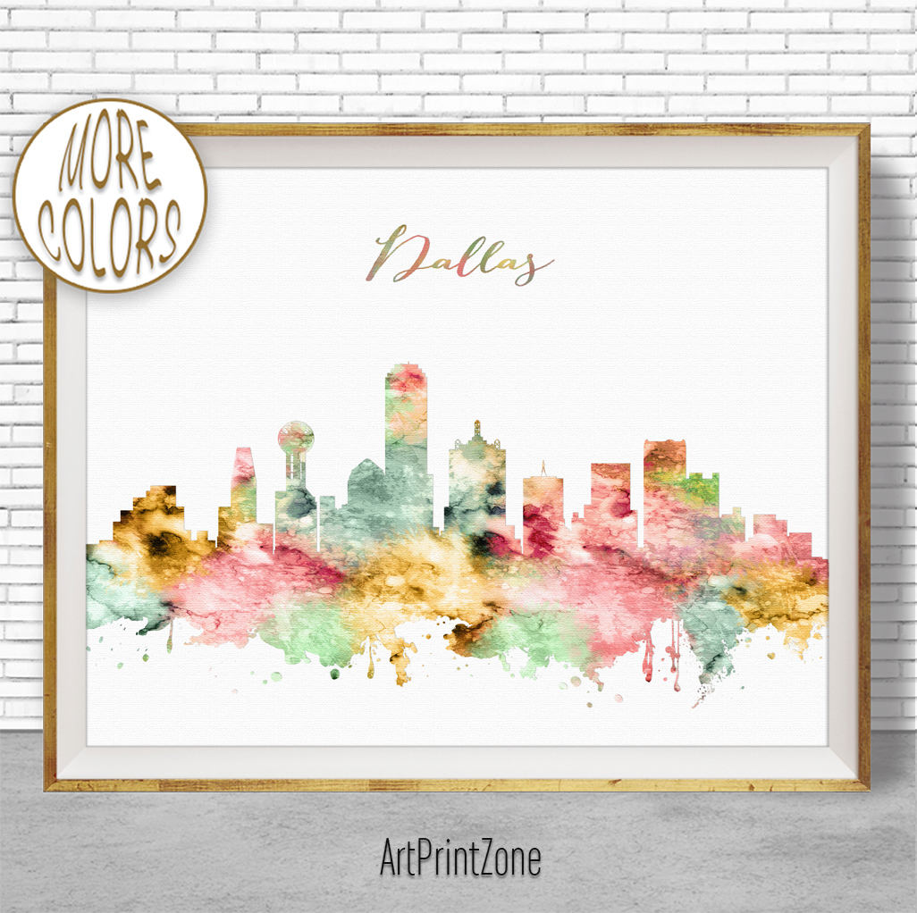 1026x1022 Dallas Texas Dallas Print Dallas Skyline Dallas Art City Wall Art