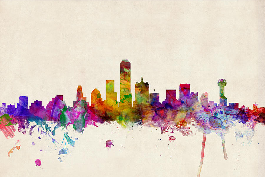 900x600 Dallas Texas Skyline Digital Art By Michael Tompsett