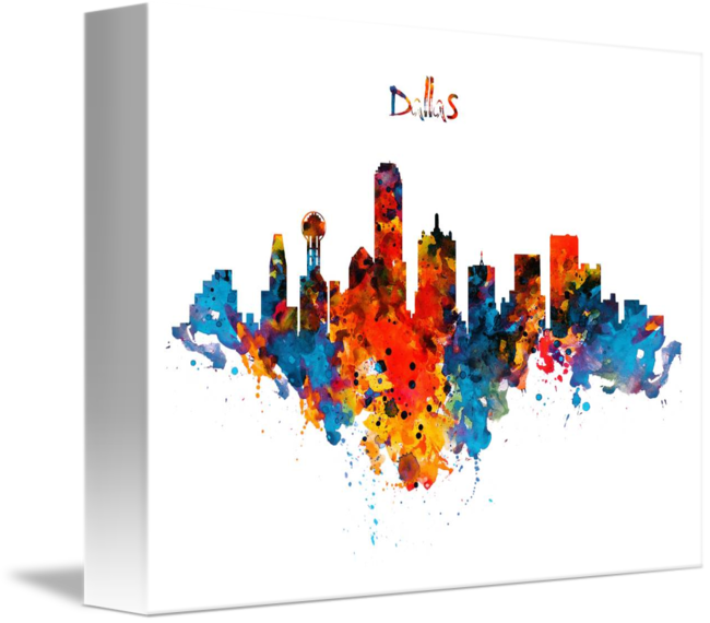 650x570 Dallas Watercolor Skyline By Marian Voicu