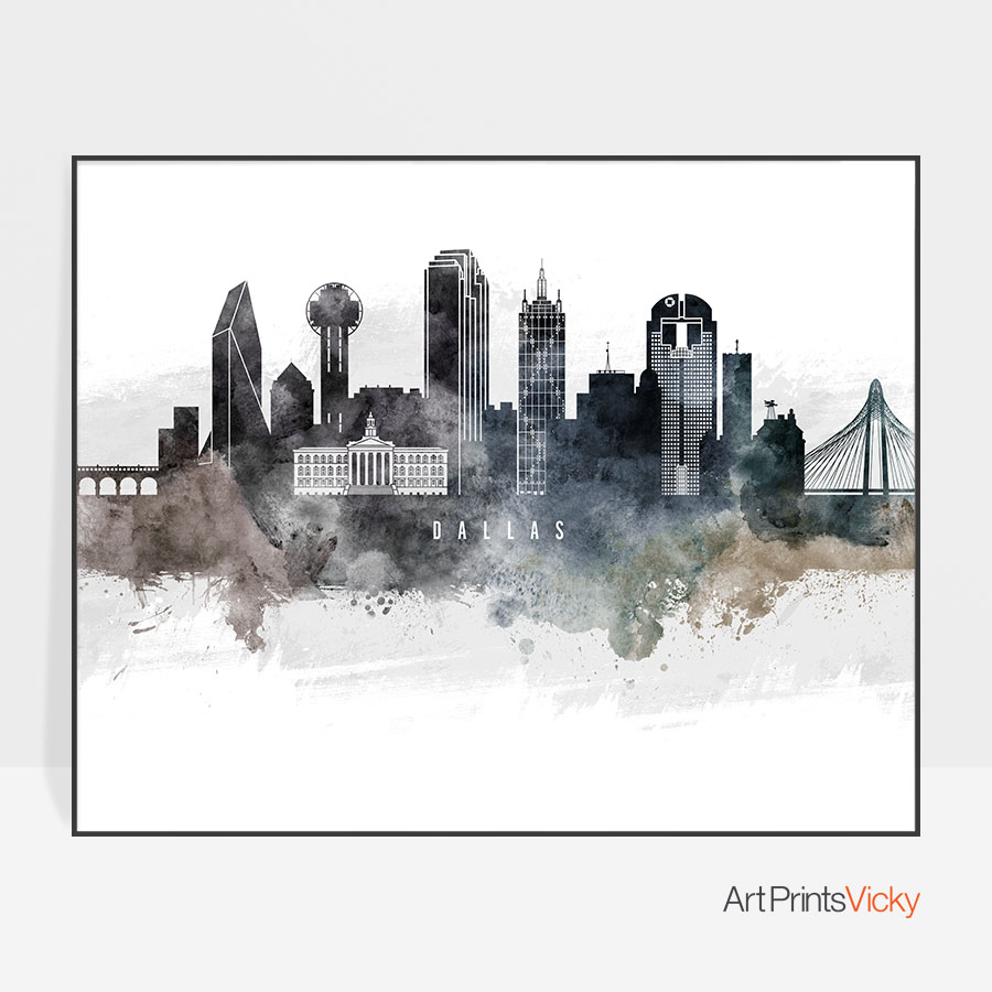 900x900 Dallas Art Poster Watercolor Artprintsvicky