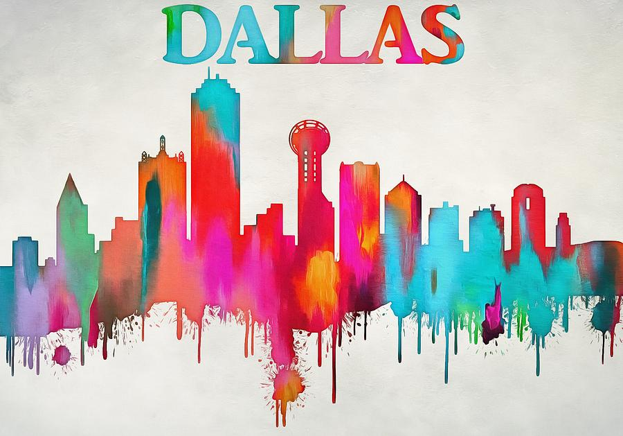 900x629 Colorful Dallas Skyline Silhouette Painting By Dan Sproul