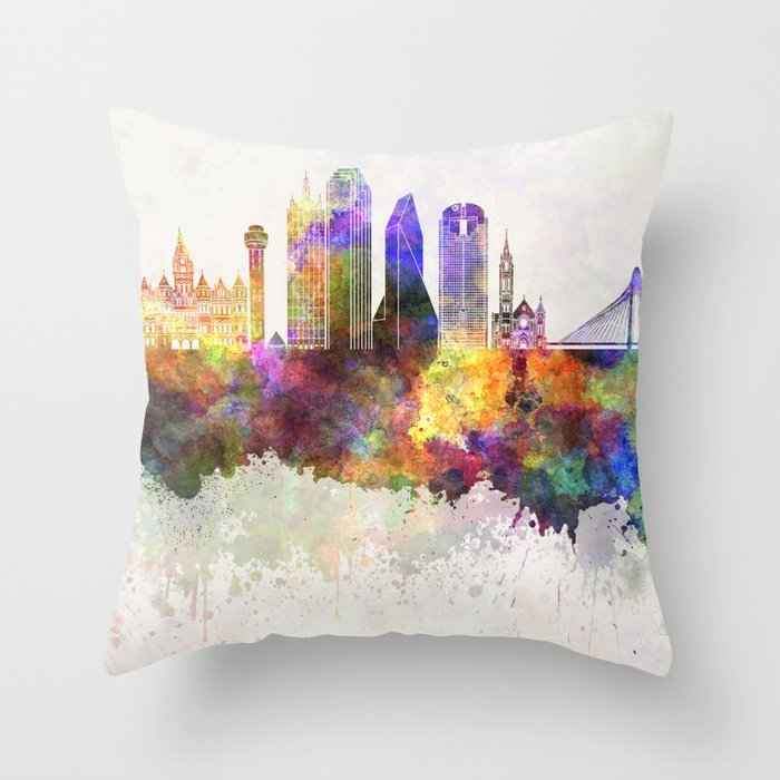 700x700 Dallas Skyline In Watercolor Background Throw Pillow By Paulrommer