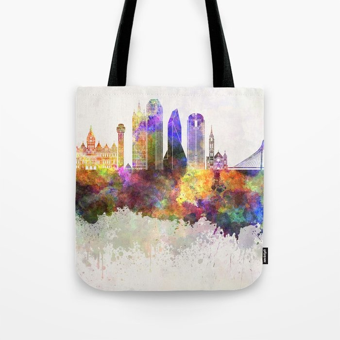 700x700 Dallas Skyline In Watercolor Background Tote Bag By Paulrommer