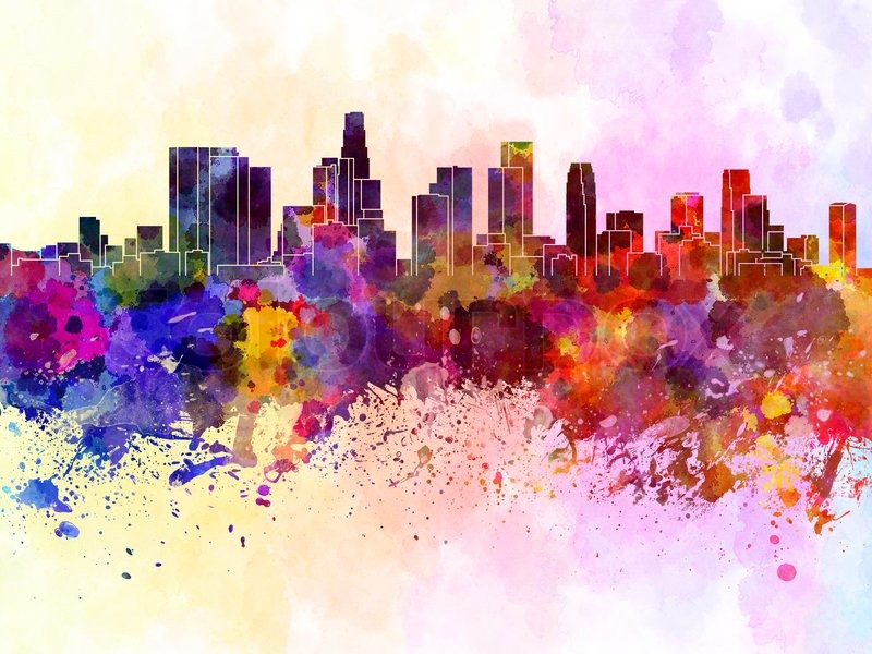 800x600 Los Angeles Skyline In Watercolor Background Stock Photo Colourbox