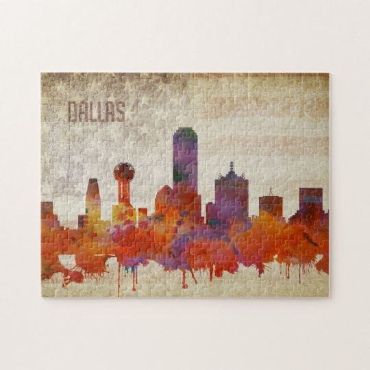 540x540 Dallas, Tx Watercolor City Skyline Jigsaw Puzzle