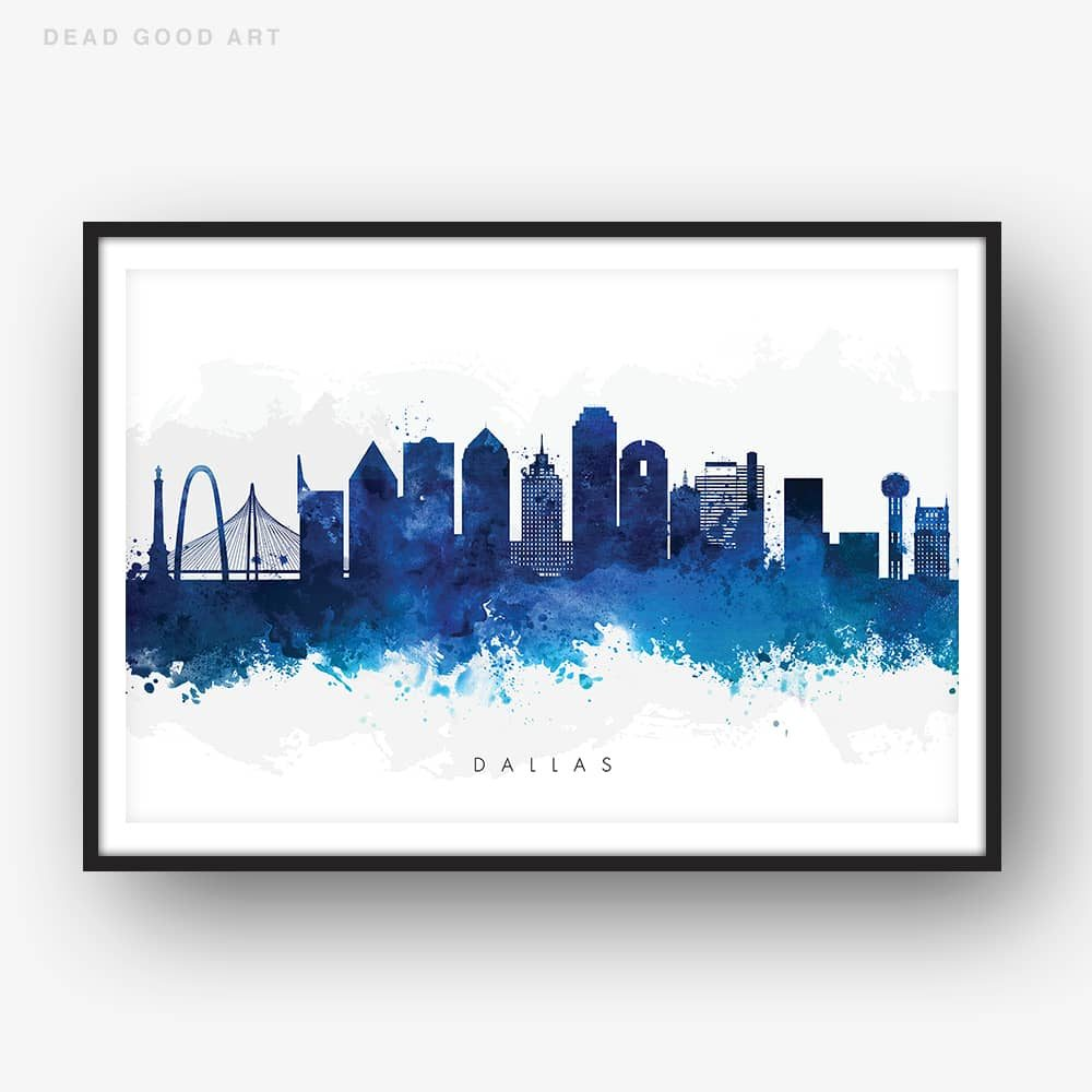 1000x1000 Dallas Skyline, Blue Watercolor Print Dead Good Art