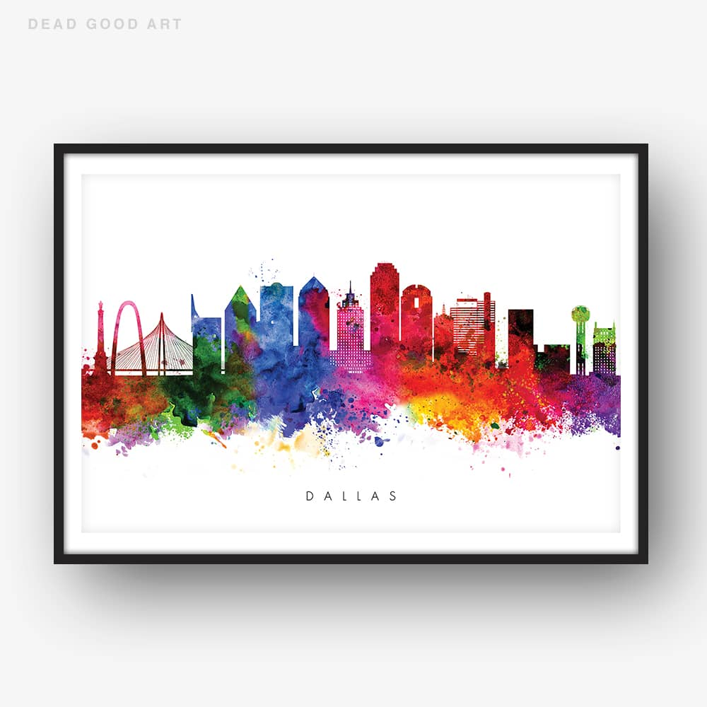 1000x1000 Dallas Skyline, Multi Color Watercolor Print Dead Good Art