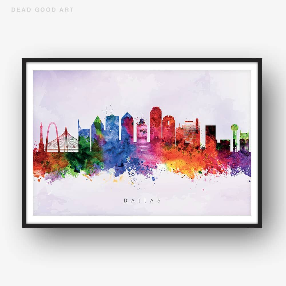 1000x1000 Dallas Skyline, Purple Wash Watercolor Print Dead Good Art