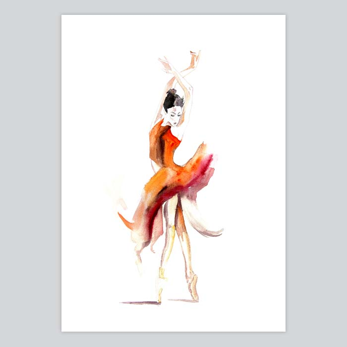 700x700 Ballerina Watercolor Painting