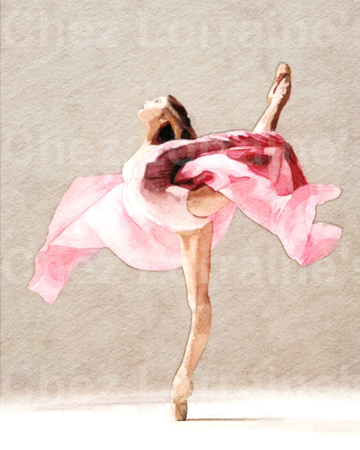 1200x1500 Swirling A Ballet Dance Watercolor Fine Art Print, Home Decor For