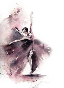 218x300 Watercolor Ballerina Paintings Fine Art America