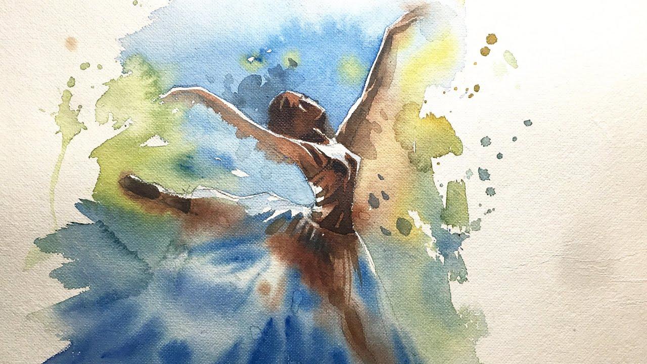 1280x720 Watercolor Painting Of Ballet Dancer.