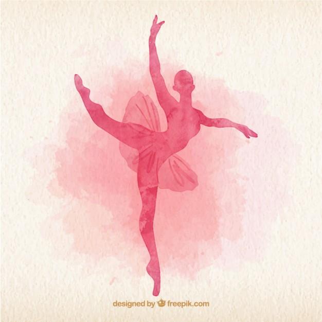 626x626 Watercolor Ballet Dancer Silhoutte Vector Free Download