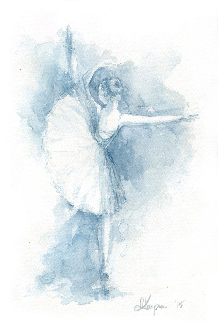 734x1087 Watercolor Painting Ballerina In Navy Blue By Annakrupa