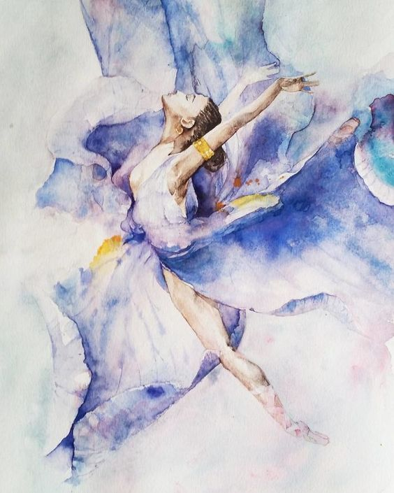 564x705 Wonderfully Fluid Watercolor Ballerina Art