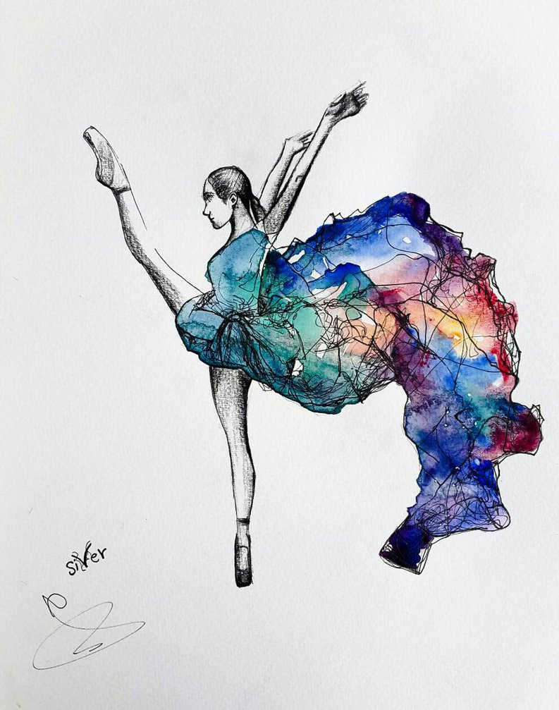 793x1007 Ballet Dance Watercolor Painting By Siver Serwer By Siverserwer On