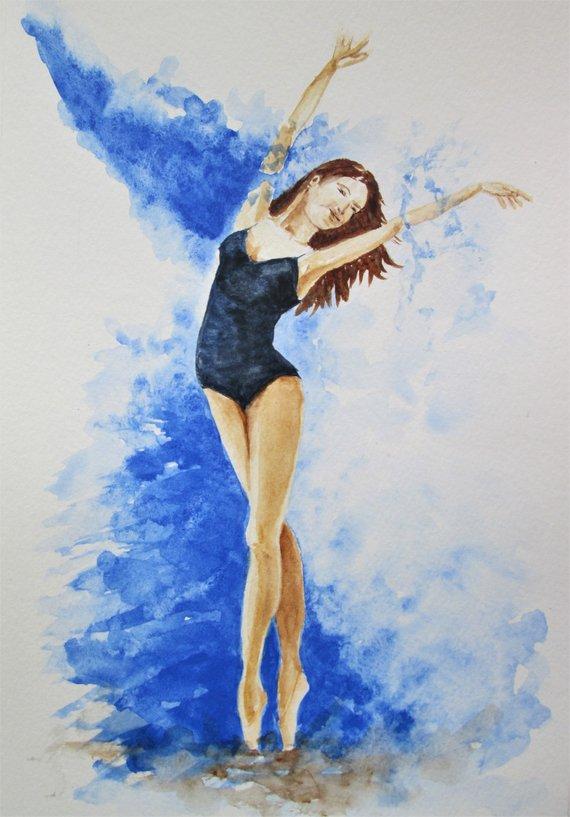 570x817 Original Ballerina Dancer Watercolor Art Dancing Girl Modern Etsy