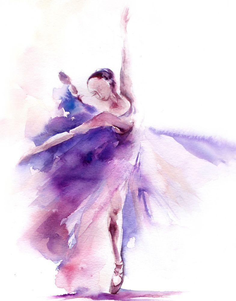 785x1000 Ballerina Dancer Watercolor Painting Art Print 9x12' Dance