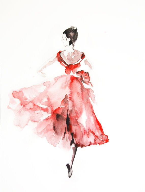 570x751 Ballerina Original Watercolor Painting, Dancer Watercolor Art My