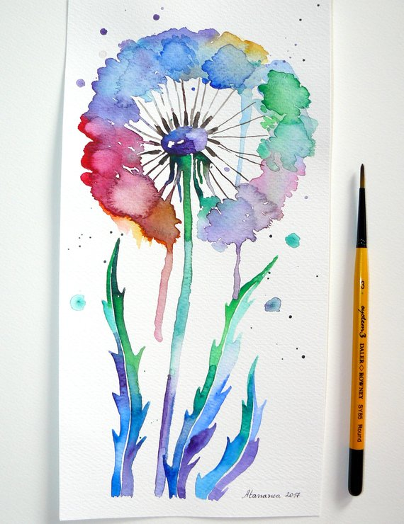 570x740 Abstract Flower Painting Dandelion Flower Painting Abstract Etsy