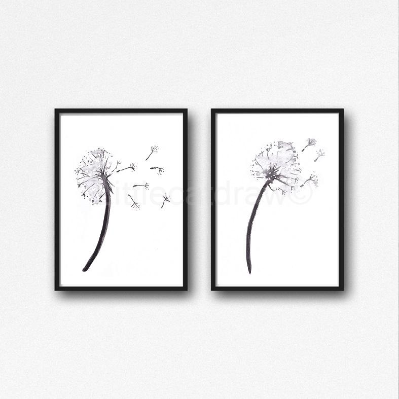 787x787 Buy Black And White Dandelions Watercolor Painting Peony Print