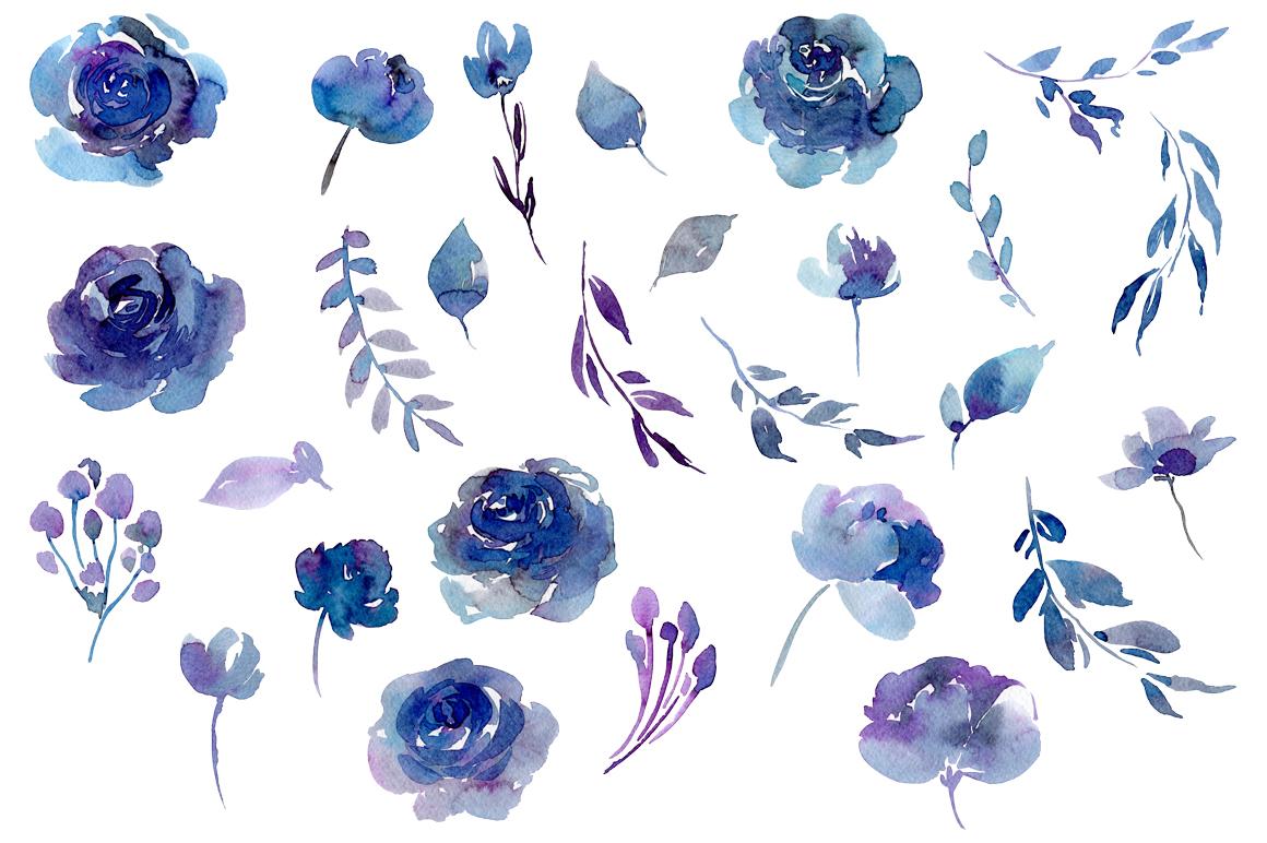 1160x772 Watercolor Dark Blue Flowers Leaves By Watercolorflowers