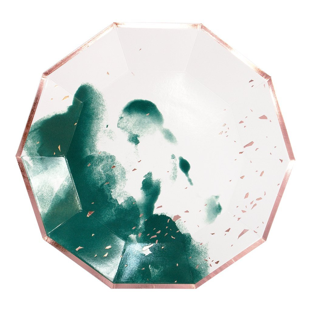 1024x1024 Dark Green Watercolor Large Paper Plates Gather