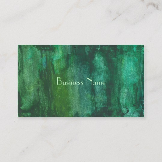 540x540 Dark Green Watercolor Abstract Business Card Zazzle.co.uk