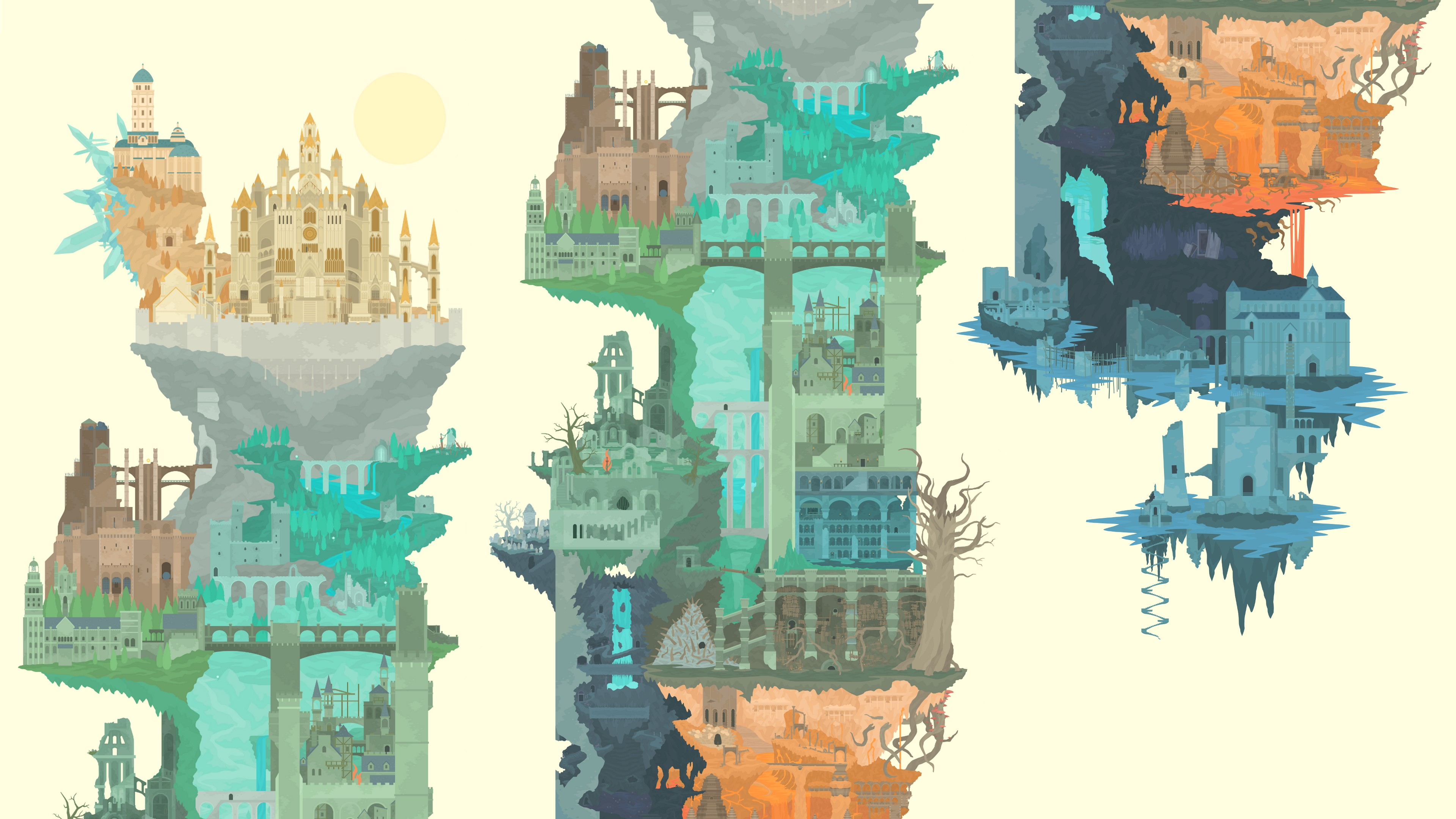 3840x2160 Wallpaper Painting, Illustration, Video Games, Cityscape