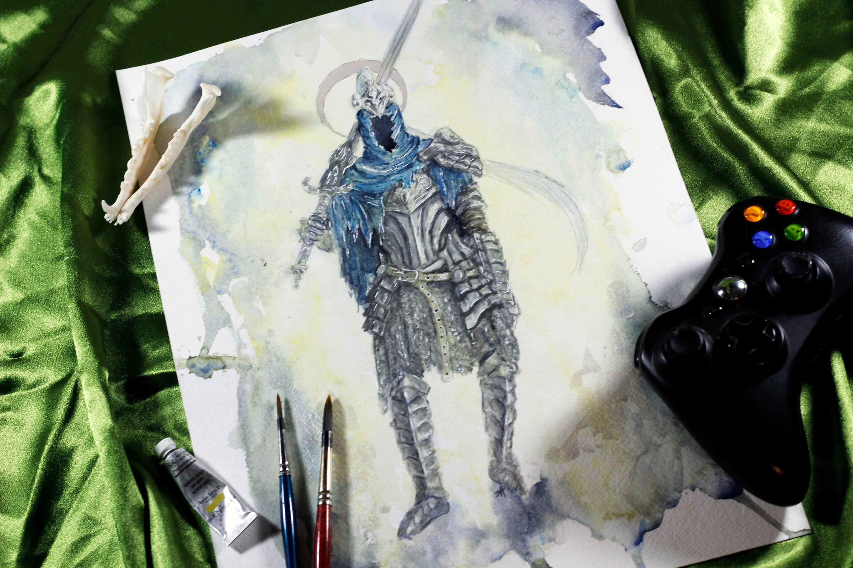 3000x2000 Artorias Dark Souls Fan Art Watercolor Study Painting Etsy