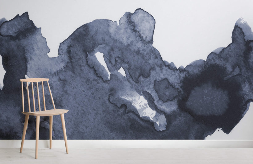 820x532 Deep Blue Waves Watercolor Wall Mural