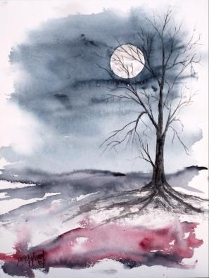 297x395 Moon Gothic Dark Surreal Modern Landscape Watercolor