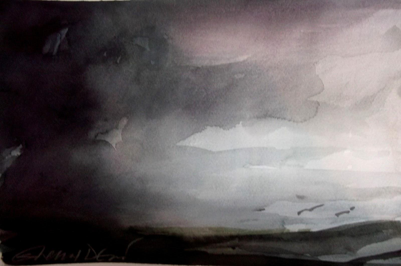1600x1064 Selma Devic Artist Dark Sky Watercolor