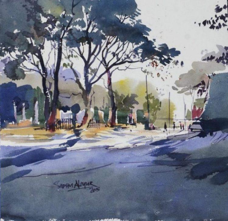750x726 Trees Dark Watercolor Painting