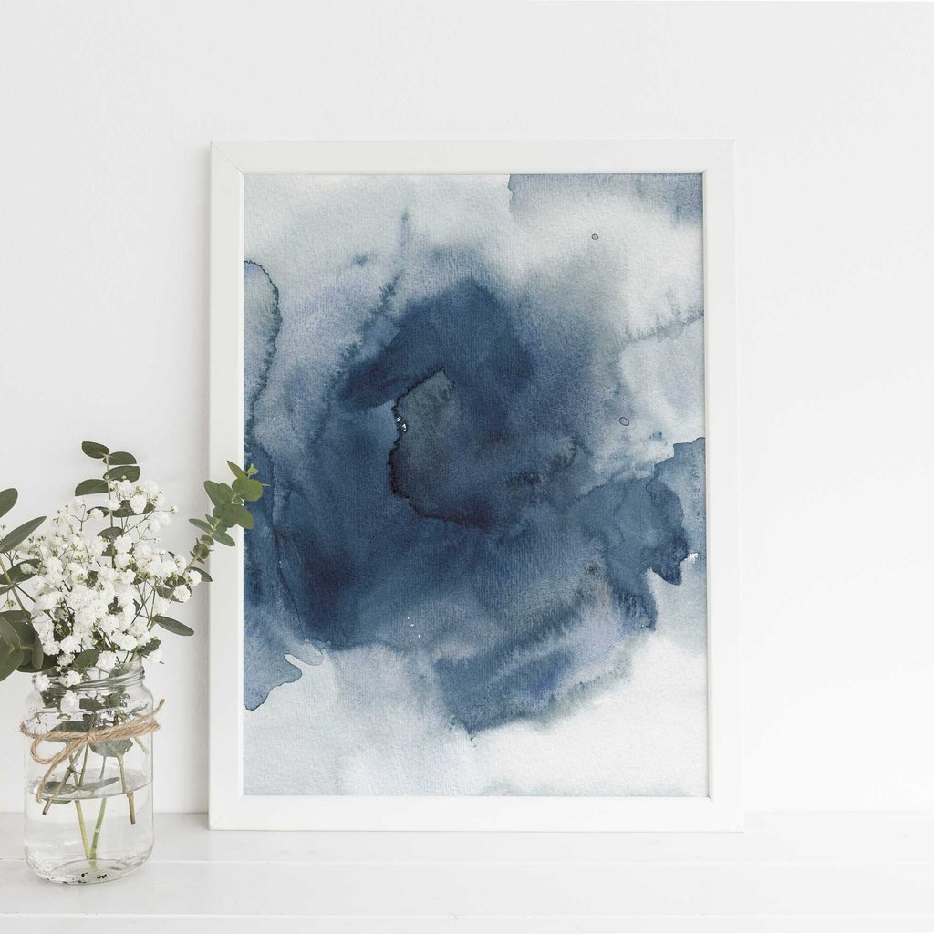 1024x1024 Dark Blue Indigo Watercolor Ink Painting Digital Print Jetty Home