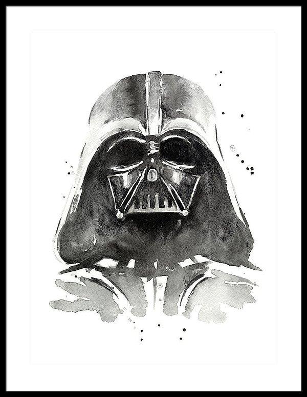 600x774 Darth Vader Watercolor Framed Print By Olga Shvartsur