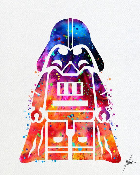 576x720 Lego Emmet Darth Vader Inspired Watercolor Illustrations Wall Art