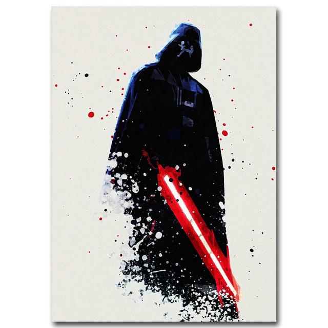 640x640 Watercolor Darth Vader Minimalist Canvas Poster Painting Star Wars