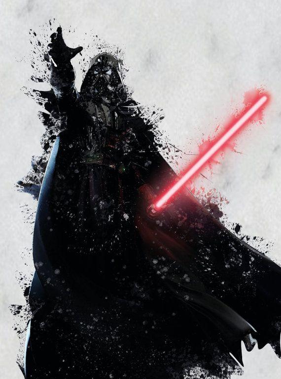 570x770 Darth Vader Print Star Wars Watercolor Splash By Printandproud
