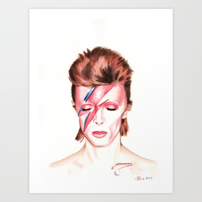 700x700 David Bowie Aladdin Sane Album Cover Watercolor Painting Art